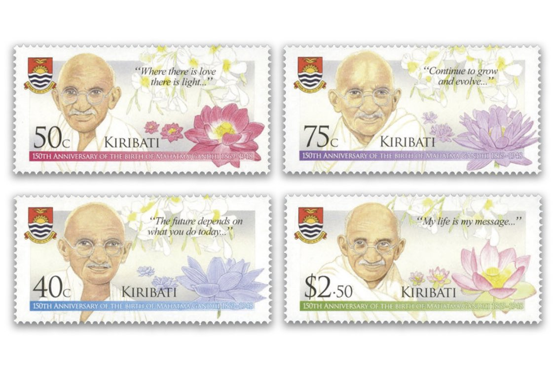 Kiribati is a central pacific island country, which issued postal stamps on Mahatma Gandhi's 150th birth anniversary.  Stamps in 6 designs (including 2 in a souvenir sheet) were released on 27 Sep 2019.  Let's go find 'em.  #BetterPhila #Gandhi150 #GandhiEncore #Stamps19 #27