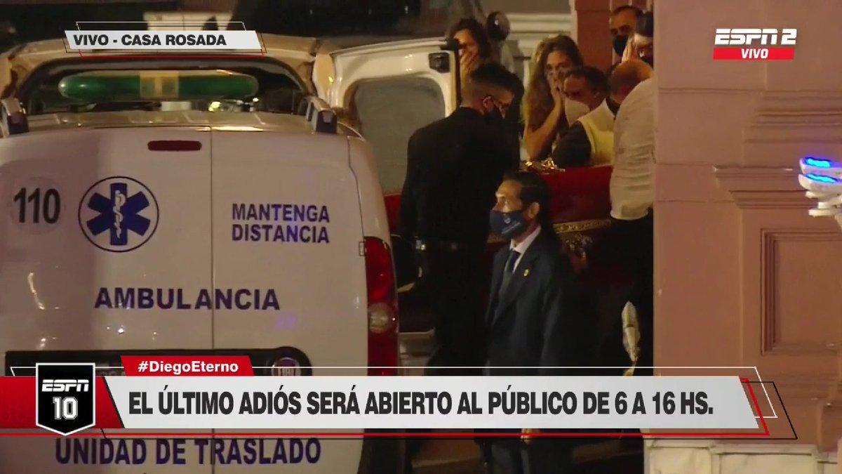 #DiegoEterno El cuerpo de Diego Armando Maradona ya está en Casa Rosada para una despedida histórica en Argentina.