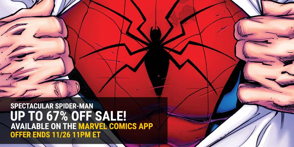 Shop the Spectacular Spider-Man sale, happening now in the Marvel Comics App!