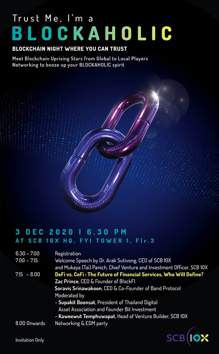If you are in Thailand, join us at @SCB10X_ for a blockchain night! CeFi and DeFi are converging ⚔️ https://t.co/XEJOmbujVN