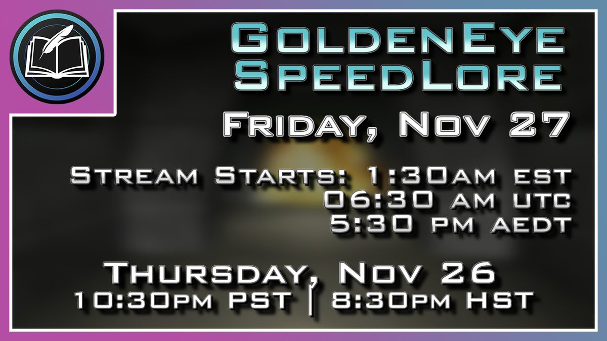 RWhiteGoose - SpeedLore tmrw night! Season 4 FINALE! Facility Secret Agent... wow, it's truly amazing.  I look forward to soothing you to sleep after a long day of giving thanks 😴💤🦃  Streamed on Twitch, uploaded to YouTube later;     Stay true!
