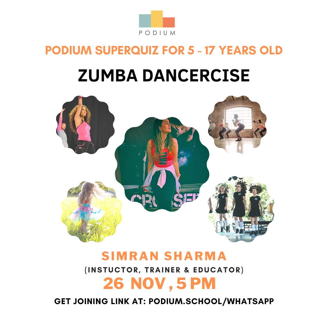 In today's Superhour class, Podium school invites you to attend Zumba dancercise by Simran Sharma. 💃  Join our FREE WhatsaApp group to get the Zoom link -> https://t.co/ke8KQnB20w  #interactivesession #podiumschool #podiumclasses #freeclasses #zumbadance #dancercise https://t.co/QN3bv75MMa