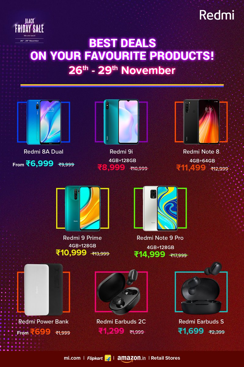 📣 The BIGGEST deals on the BEST #Redmi products are now LIVE! 🔥  Mi fans, ready you shopping carts! #BlackFridaySale is here. ❤️  Buy now from https://t.co/pMj1r7lwp8, @Flipkart, @amazonIN and Retail Outlets.  👉 Buy now: https://t.co/4HwVCQteL3  I ❤️ Mi https://t.co/OhhI0fSvr9