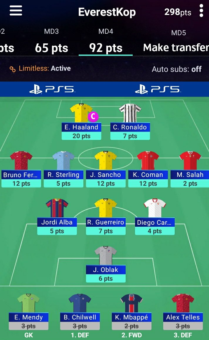 Thought I would update the #UCLFantasy for my amigos. 92 points in GW4. Ranks: Global- 5060 Nepal- 8 Pique Blinders-7