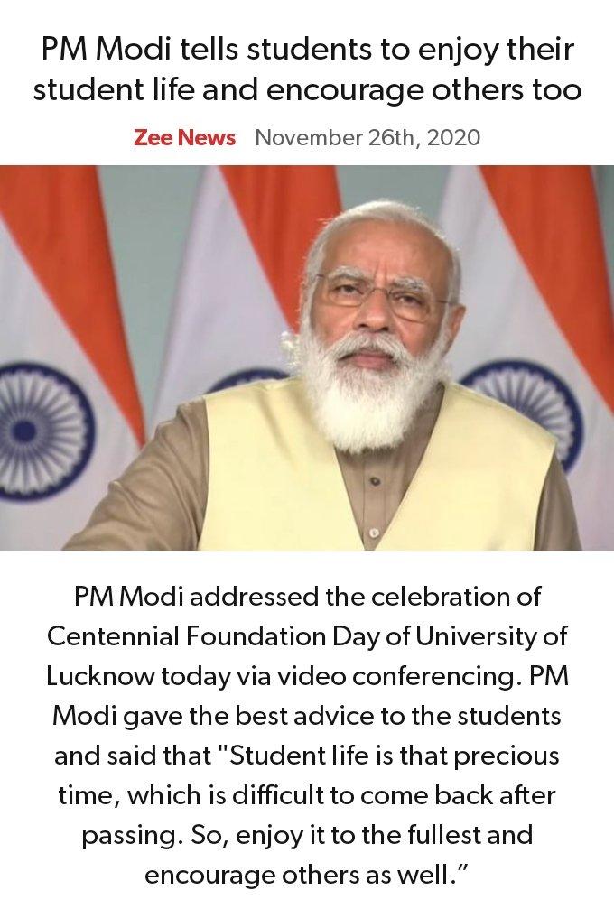 PM @narendramodi tells students to enjoy their #studentlife and encourage others too. #BJP #NAMO #universityoflucknow  via NaMo App