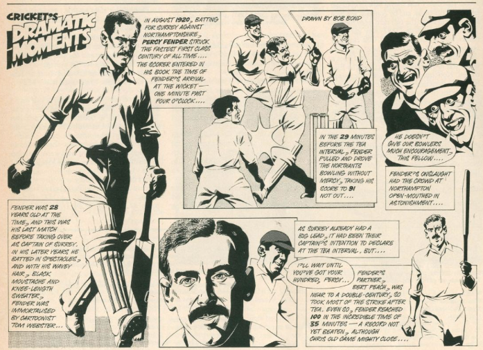 A cartoon celebrating Percy Fender's 35 minute 100 - a record which is 100 years old. #RandomBrowsing #OldCricket