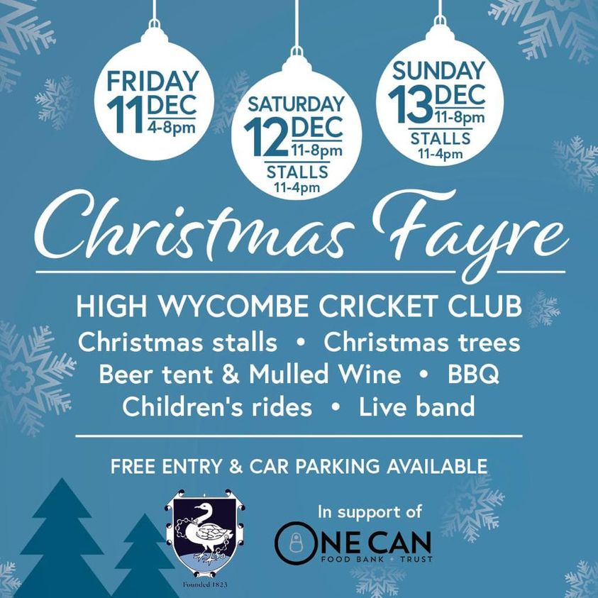 Thank you so much @HWCC_Cricket for hosting a Christmas Fayre in aid of One Can. Do pop down for a mince pie and a mulled wine😍 #TogetherWeCan #community