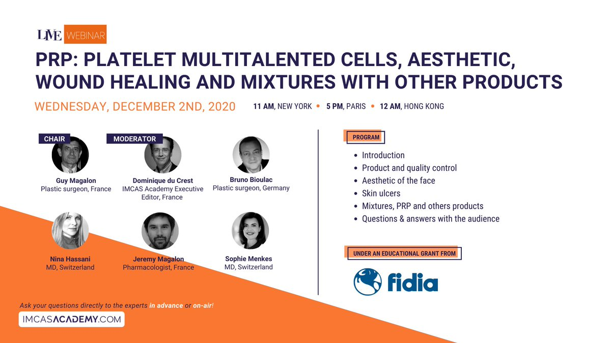 "- NEXT LIVE WEBINAR - December 2 at 5PM (Paris time)  Join us on IMCAS Academy for the LIVE webinar on ""PRP: Platelet multitalented cells, aesthetic, wound healing and mixtures with other products."" Register & watch for free 👉 https://t.co/f7uL15gWTN https://t.co/3jSbEaw7O9"