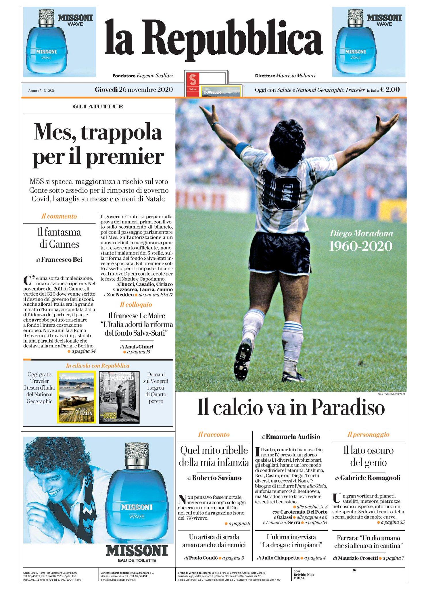 """Repubblica on Twitter: """"Il calcio va in Paradiso - #Buongiorno con la  #primapagina di Repubblica di oggi https://t.co/LZaZp2FObT #rassegnastampa  #26novembre #maradona… https://t.co/yBPTJcVJeH"""""""