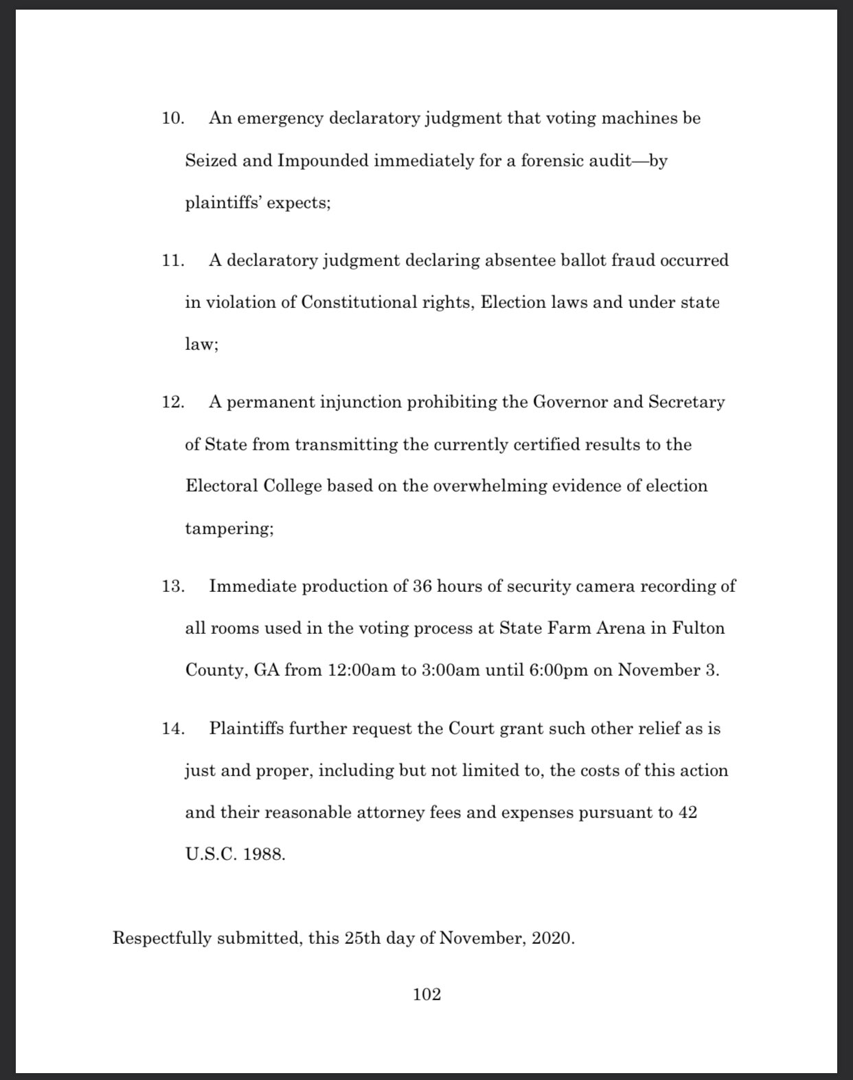 EnuuVGaVEAE2I2L?format=jpg&name=large The Kraken came down to Georgia on this Thanksgiving Eve in the form of a 104 page BOMBSHELL complaint exposing the massive votwr fraud that overwhelmed the 2020 Georgia Elections.
