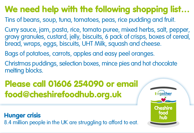 We need help with the list of items for our Christmas 2020 Hampers, to support as many struggling people as possible across Cheshire. #HereForYou #CareInTheCommunity #CommunitySpirit #Support #Cheshire #FamilyMeals #HungerFreeFuture