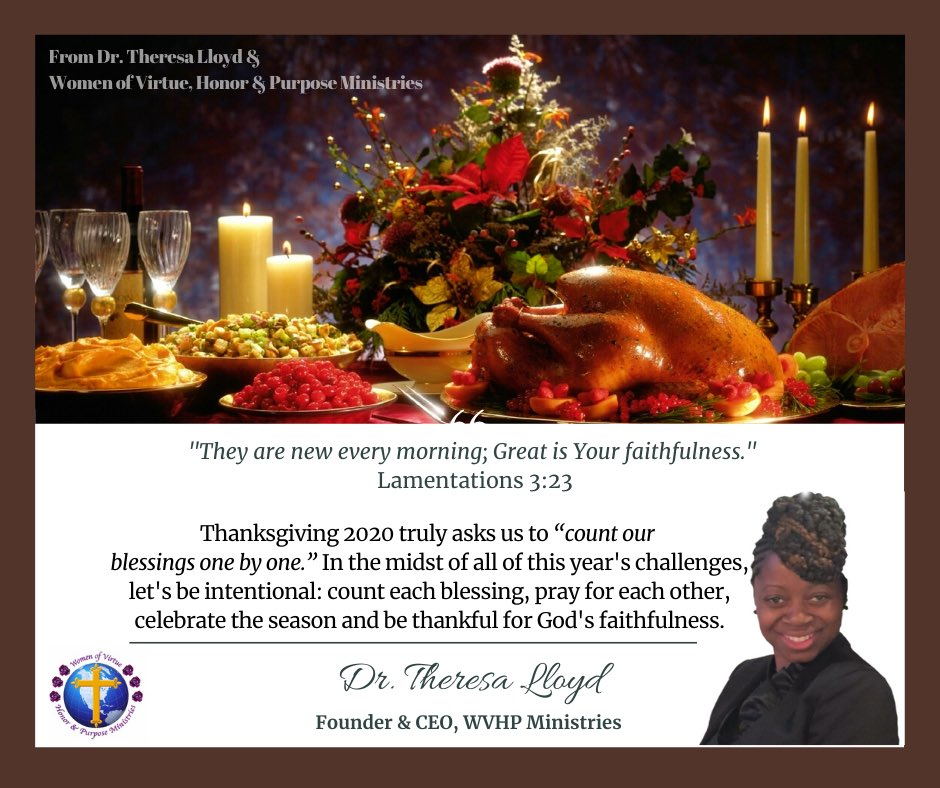Happy Thanksgiving from Dr. Theresa Lloyd & #WVHP Ministries #Thanksgiving #HappyThanksgiving2020 #GratefulHeart