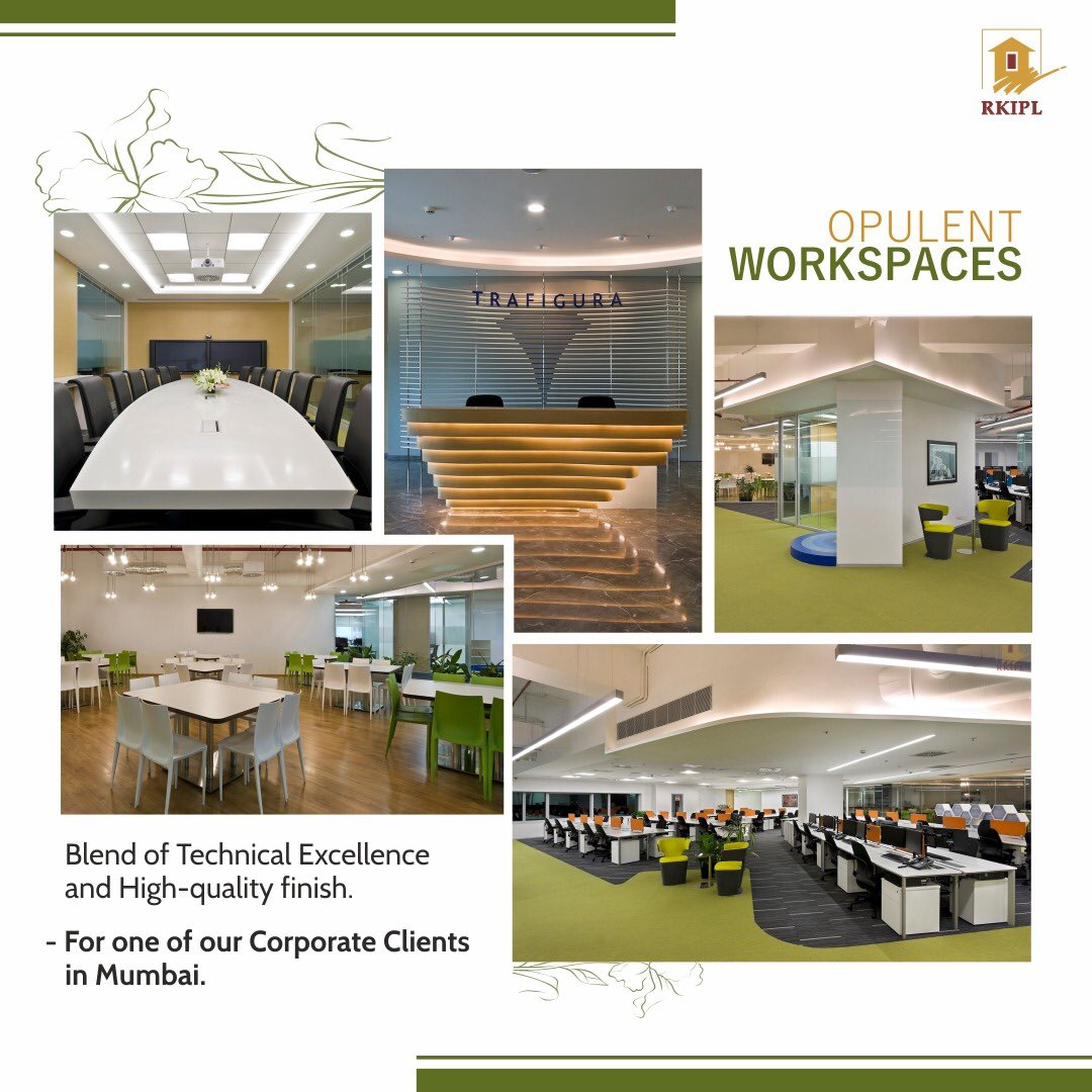 An environment filled with positivity brings outstanding results.   That's why at RKIPL we go that extra mile to ensure every nook and corner is testimony of our premium workmanship.                     #RKIPL #workspace #opulentdesigns https://t.co/z4okyZ91az