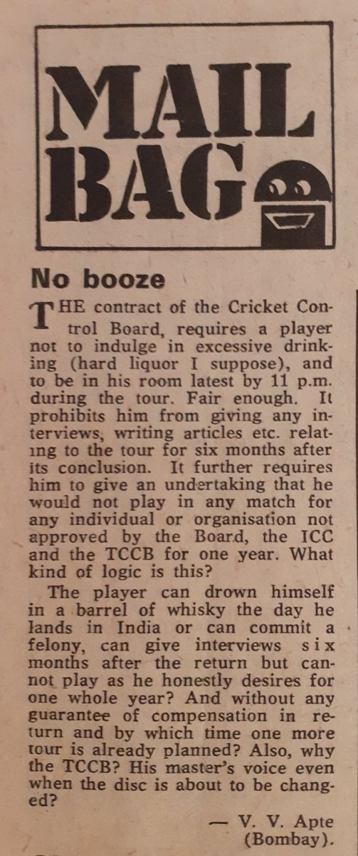 This letter from a reader appeared in 'Sportsweek' April 1979