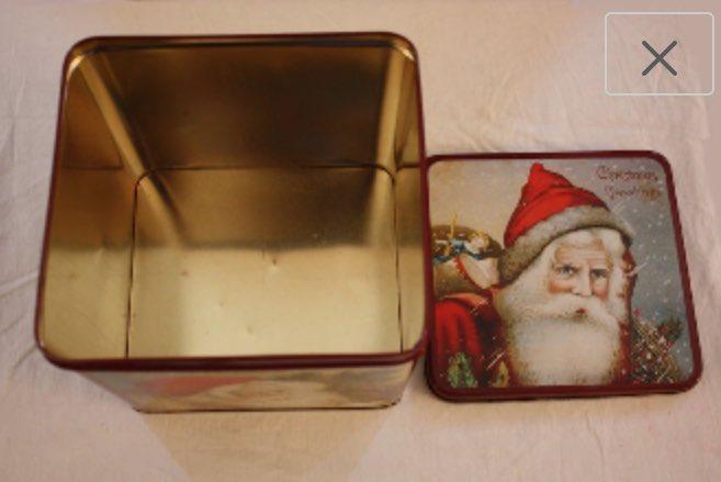 Vintage Enesco Christmas Tin featuring Santa Claus by EmmasAtticTreasures  via @Etsy #Christmas #SantaClaus #Tin #Enesco