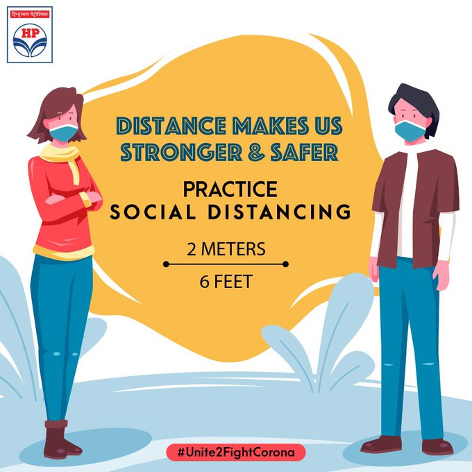 We are all in this together, which is why we must stay apart to stay safe. We request you to maintain #DoGazDoori and practice social distancing. Let's #Unite2FightCorona and observe all COVID-19 Appropriate Behaviour norms. #MeraHPpump #SafeFueling @HPCL