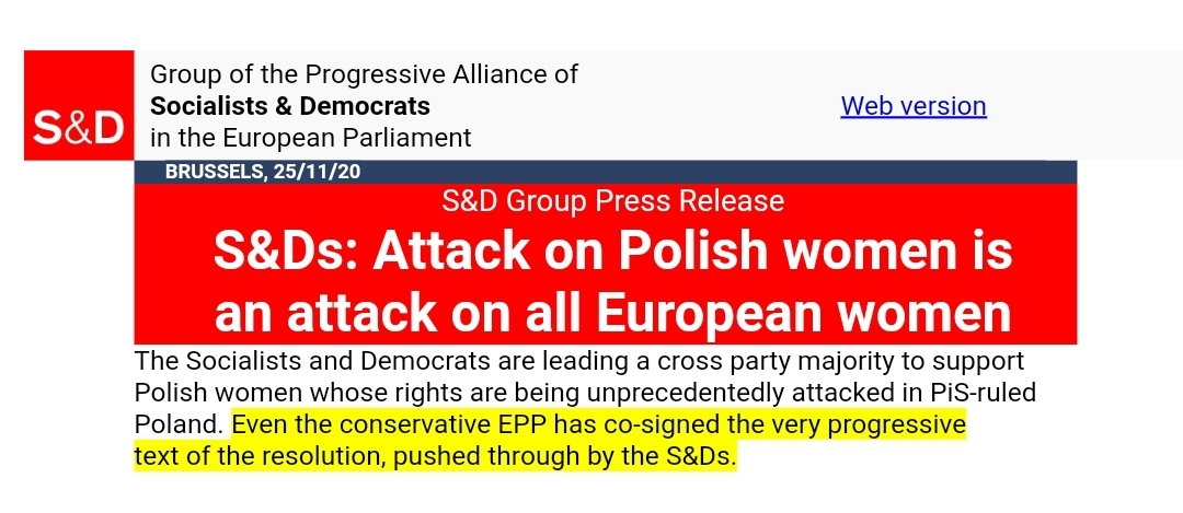 """‼️ El Partido Popular Europeo se suma a una resolución socialista contra la soberanía de Polonia y el derecho a la vida de los no nacidos. Y los socialistas se jactan de ello:  """"El @ppegrupo ha co-firmado un texto MUY PROGRESISTA"""".  😡 ¡Qué escándalo!  ❤️ #SíALaVida https://t.co/wnmnXGwwo1"""