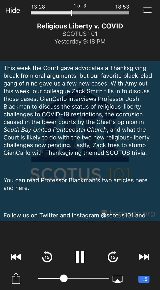 @JoshMBlackman Started listening to the recent @SCOTUS101 podcast on religious liberty last night. How timely! #SCOTUS