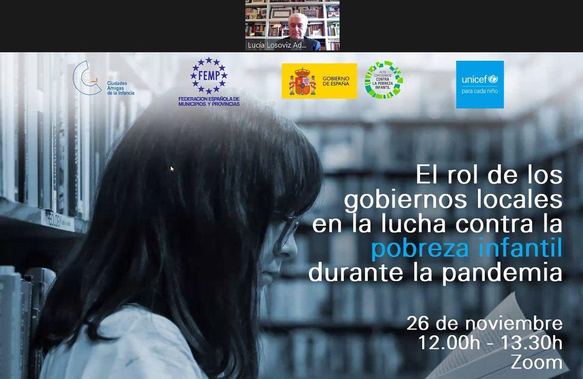 Participando en el Taller de @unicef_es donde ha participado el presidente  de #UNICEFEspaña, el Presidente de @fempcomunica y la Directora del Alto Comisionado @comisionadoPI 👉El rol de los gobiernos locales en la lucha contra la pobreza infantil durante la pandemia @UNICEF_CLM