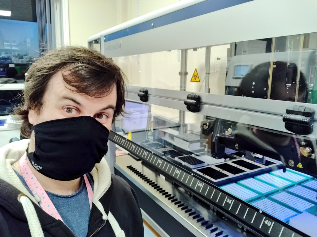 """Sam configuring """"Stormy Daniels"""" to help increase our throughput to 1000 genomes/week for @CovidGenomicsUK https://t.co/RCFvmtIswc"""