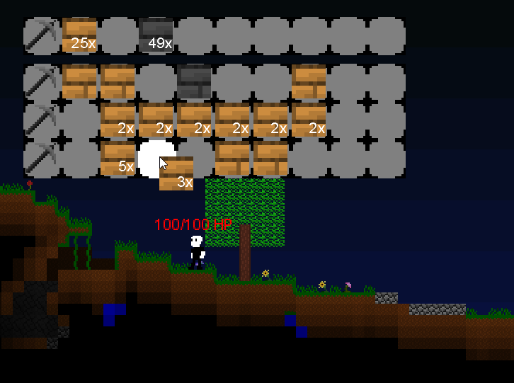 other tinggs i forgot to tweet: added inventory system, working on crafting system next. #CaveGame #gamedev #devlog