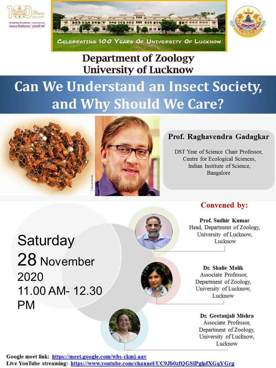 You are all welcome to attend the open lecture by one of the eminent personalities in the field of Ecology and evolution, Raghavendra Gadagkar.  @ZLkouniv @lkouniv @profalokkumar   #ecologylectures #insect #universityoflucknow #zoology
