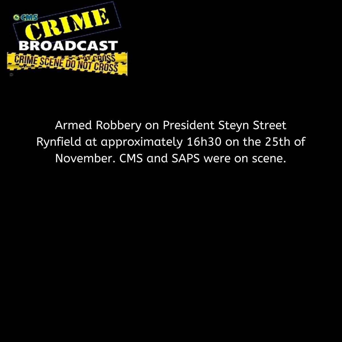 Crimebroadcast 2020-11-26 #CommunityRules #Safety  #proudlycms #Patrolling #Precincts #Ekurhuleni #Reaction #Closures #CommunityMonitoringServices https://t.co/AyJKybyu5K