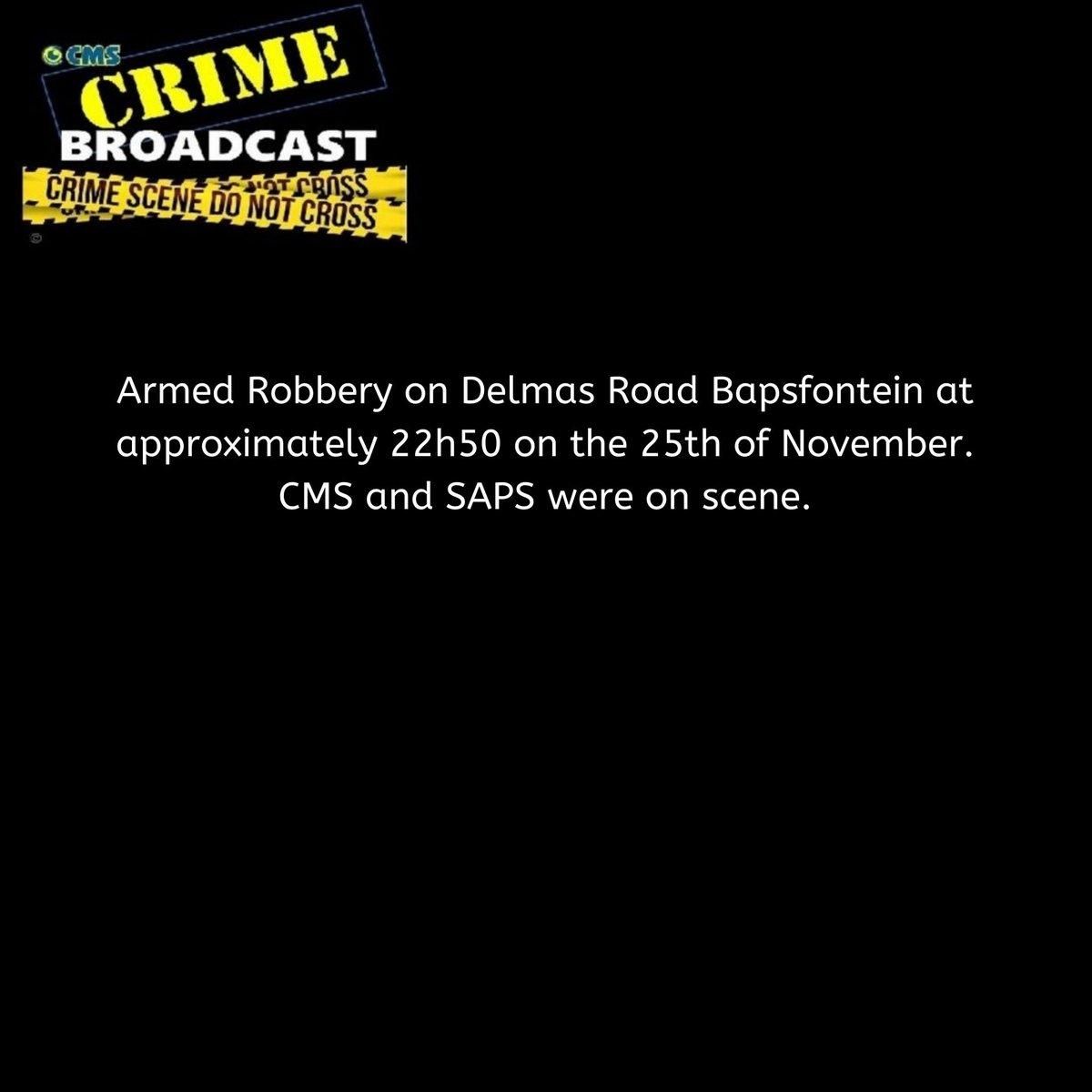 Crimebroadcast 2020-11-26 #CommunityRules #Safety  #proudlycms #Patrolling #Precincts #Ekurhuleni #Reaction #Closures #CommunityMonitoringServices https://t.co/5e8kdFPwBr