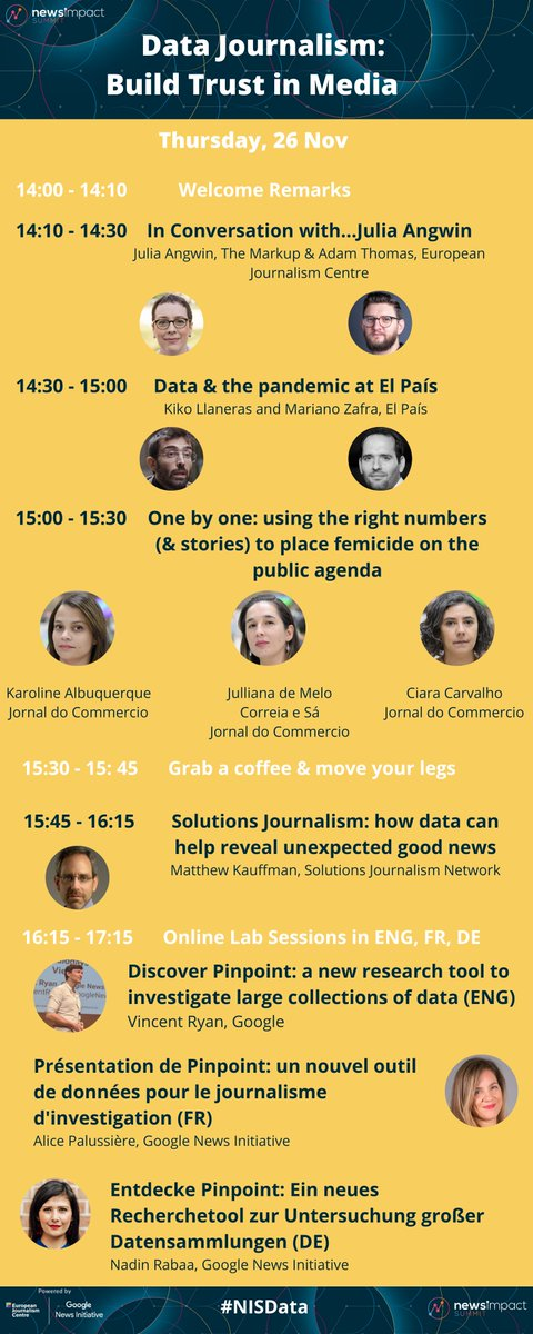 🎉The last day of our #NISData Summit is here! Join us and explore ... ✔️ data products that counter #disinformation ✔️ visual stories about #COVID19 ✔️ a new tool to investigate large collections of #data ✔️ and more!   Tune in via Youtube at 14:00 CET: