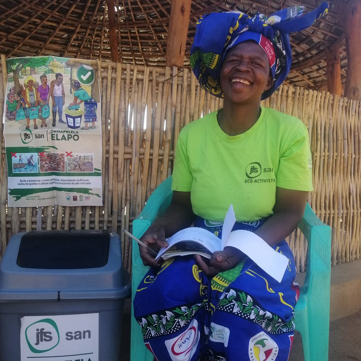 CmiA and the cotton company SAN-JFS developed a #recycling project in #Mozambique which supports #women, so called eco-activists. We spoke w/ Justina, one of the eco-activists, about her great work:  #sustainble #sustainability