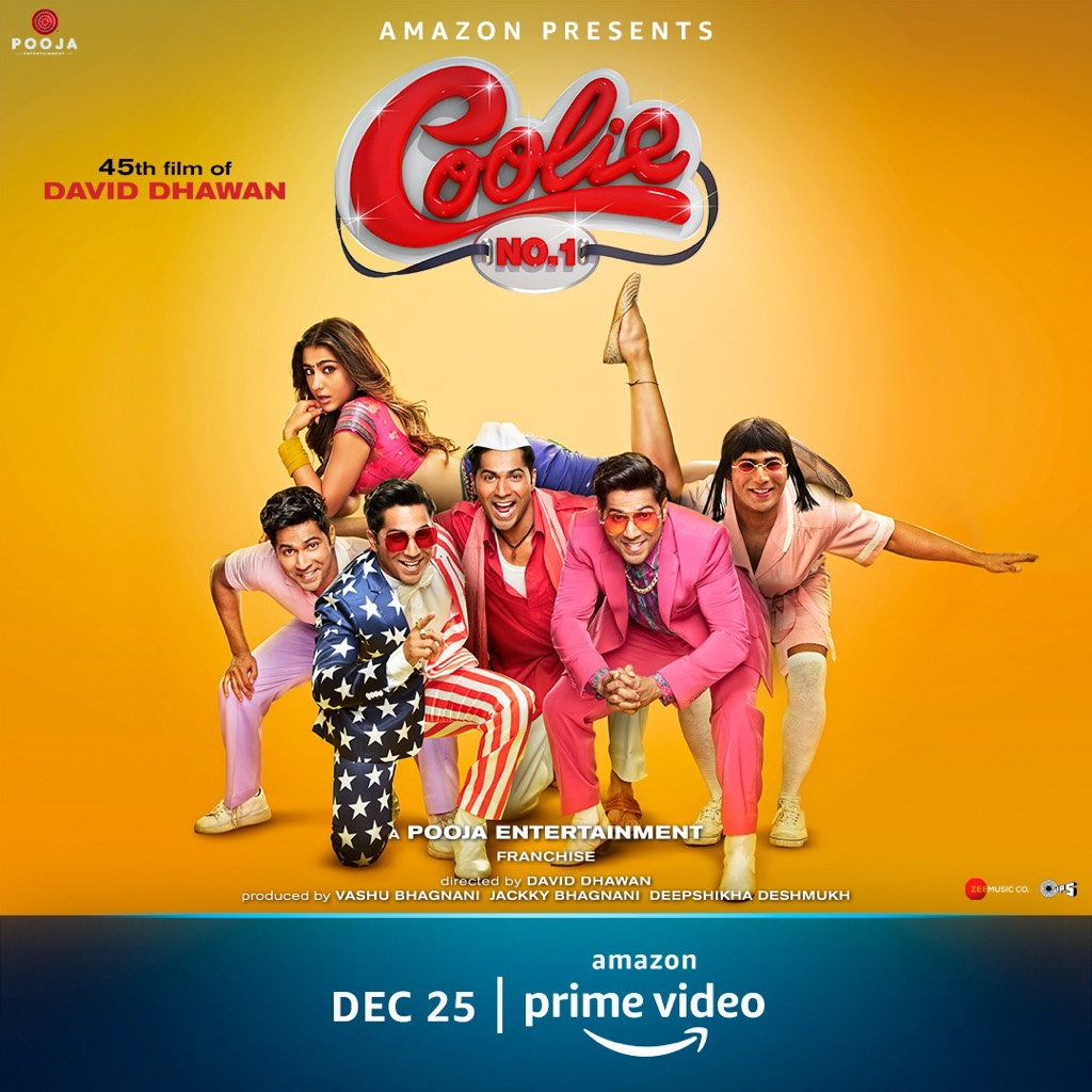 All set to meet #CoolieNo1OnPrime. Watch the live trailer premiere, Nov 28, on the Facebook and YouTube page of Amazon Prime Video. @Varun_dvn #SaraAliKhan #DavidDhawan @vashubhagnani @jackkybhagnani @honeybhagnani @poojafilms