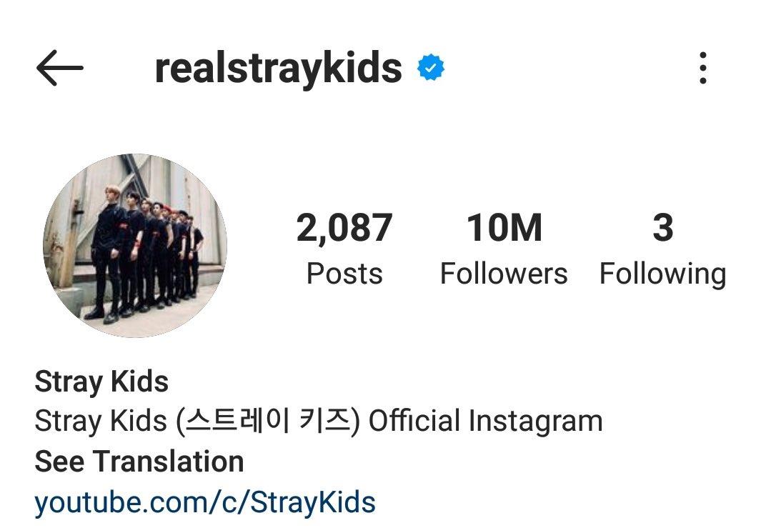 [INFO]  @Stray_Kids haben 10 MILLIONEN Follower auf Instagram erreicht 🎉 Damit sind sie die 2. meist gefolgte Kpop Boygroup & die 4. meist gefolgte Kpop Gruppe✨ Glückwunsch! 🎉🧡  #RealStrayKids10M #StrayKids