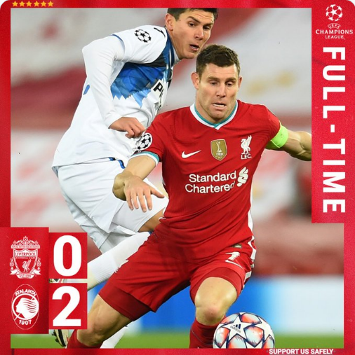 Upset defeat! #LiverpoolFC 0-2 #Atalanta. #LFC scored 4 shots but NO ONE was on target. In the last two rounds, #Liverpool must win at least one in order to secure their place.  #LIVLEI #LIVATA #ataliv #AtalantaLiverpool #UCL #ChampionsLeague