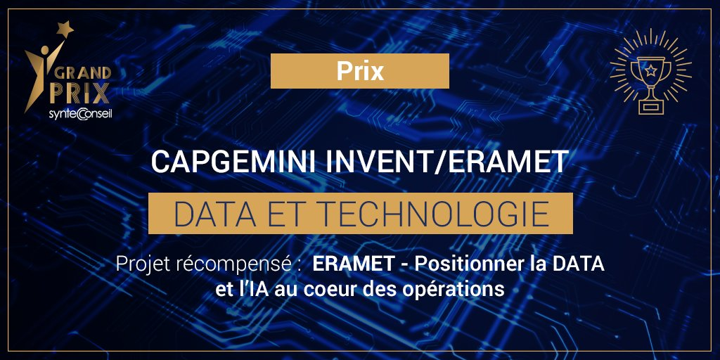 .@CapgeminiInvent et @GroupeEramet remportent le premier #GrandPrixSyntecConseil pour un projet qui place la Data et l'#IA au cœur des activités du groupe minier et métallurgique. https://t.co/4kcIpT3sjM