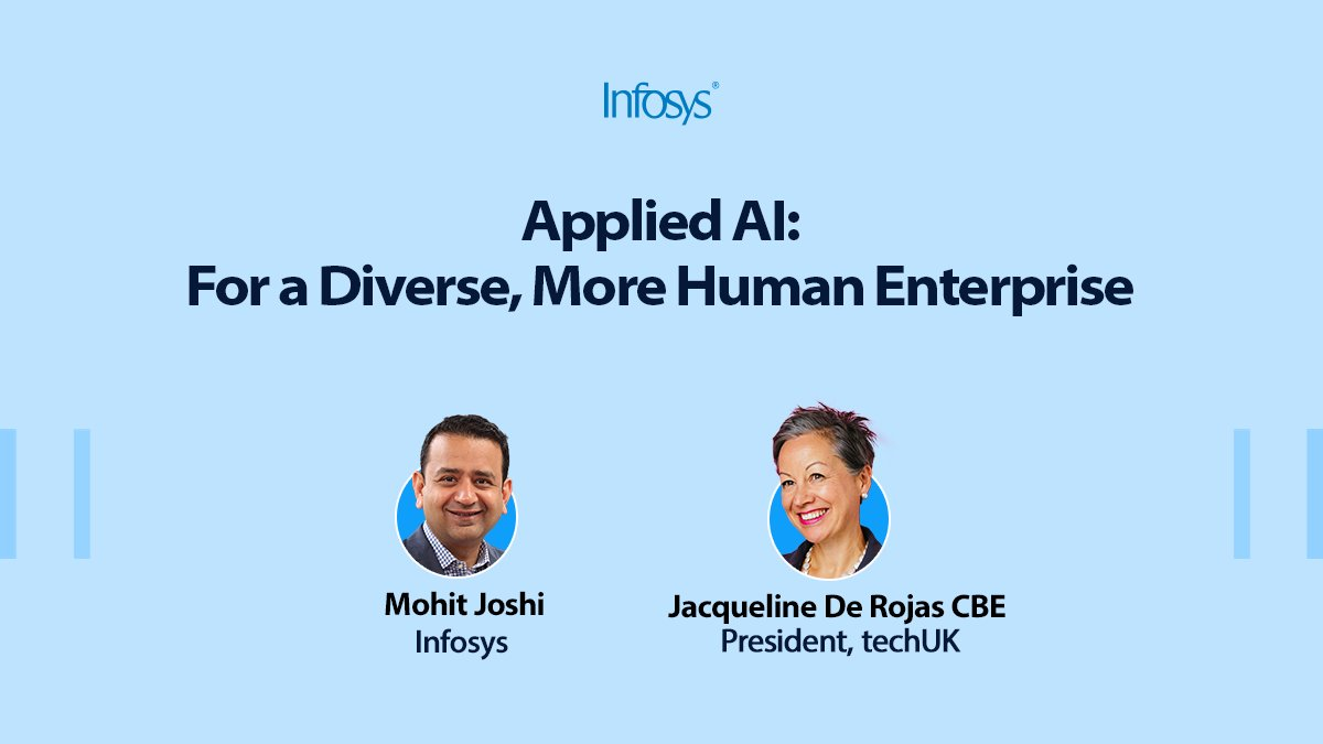 .@joshimohit_ygl, Infosys, in conversation with Jacqueline de Rojas CBE, President, techUK, discussing new opportunities for #UKbusinesses with #AI and the importance of #diversity https://t.co/CMWaaGae8H #appliedAI https://t.co/wBz3JkMsnF