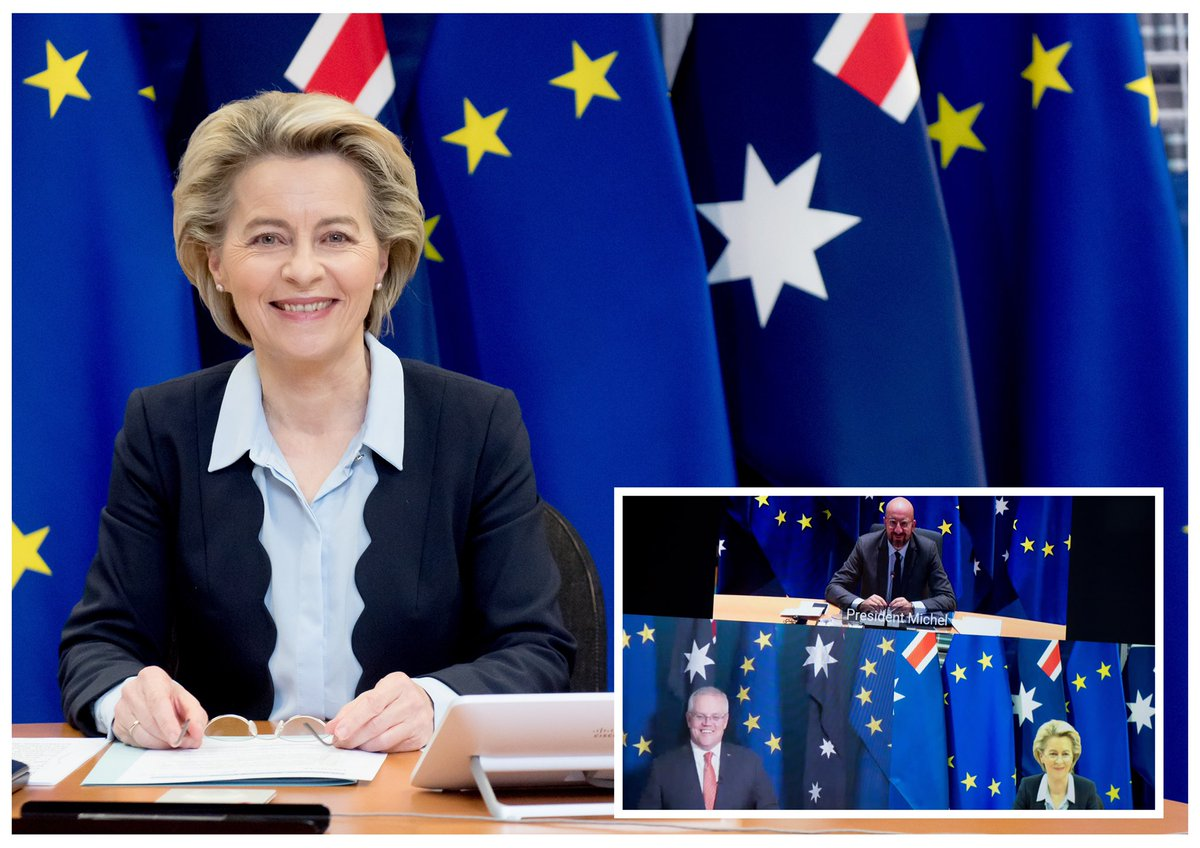 The EU & Australia are natural partners.  I was happy to talk with @ScottMorrisonMP about deepening our relationship.  We took stock of our negotiations towards a 🇪🇺 🇦🇺 FreeTrade Agreement.  We agreed to work together on vaccines, the global recovery & climate action.