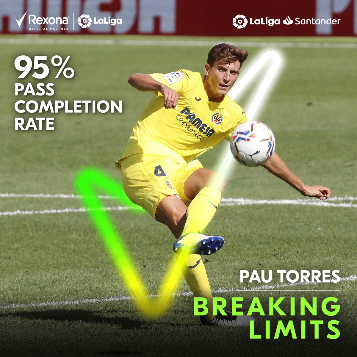 Precision at its finest! 🎯✨  ✅ @Eng_Villarreal star, @pauttorres, achieved an astounding 95% pass completion rate in the Villarreal vs Real Madrid game!  #BreakingLimits #MoveYourWay #Rexona https://t.co/msEqantH1r