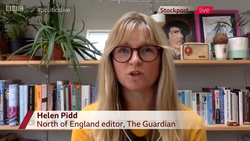 """""""Im so infuriated and cross and really quite sad at... yet more lockdown"""" says the Guardian's north of England editor Helen Pidd She compares Stockport locked down for months to parts of London with higher virus figures in a lower tier #politicslive bbc.in/2V57vc8"""