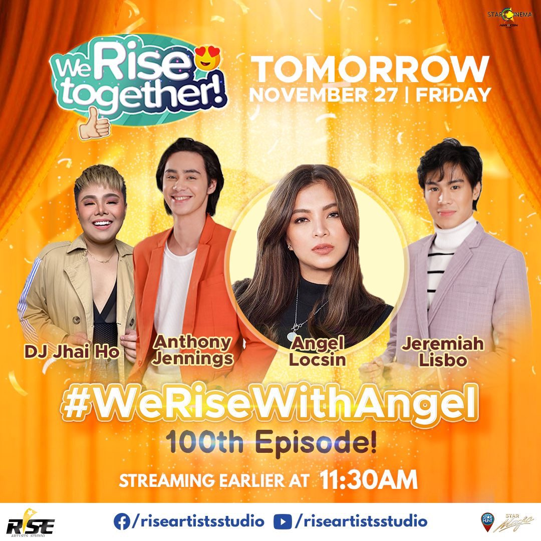 double celebration for tomorrows #WeRiseTogether! ✨ its our 100th episode + a celebration of our real-life hero, angel locsin! 11:30am on our youtube.com/riseartistsstu… and facebook.com/riseartistsstu…!
