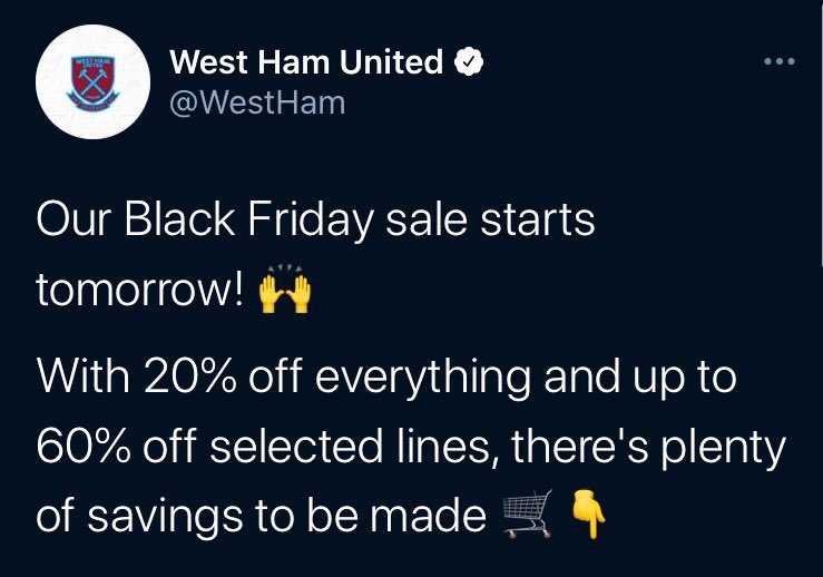 @WestHam What happened to the 20% off everything bit?