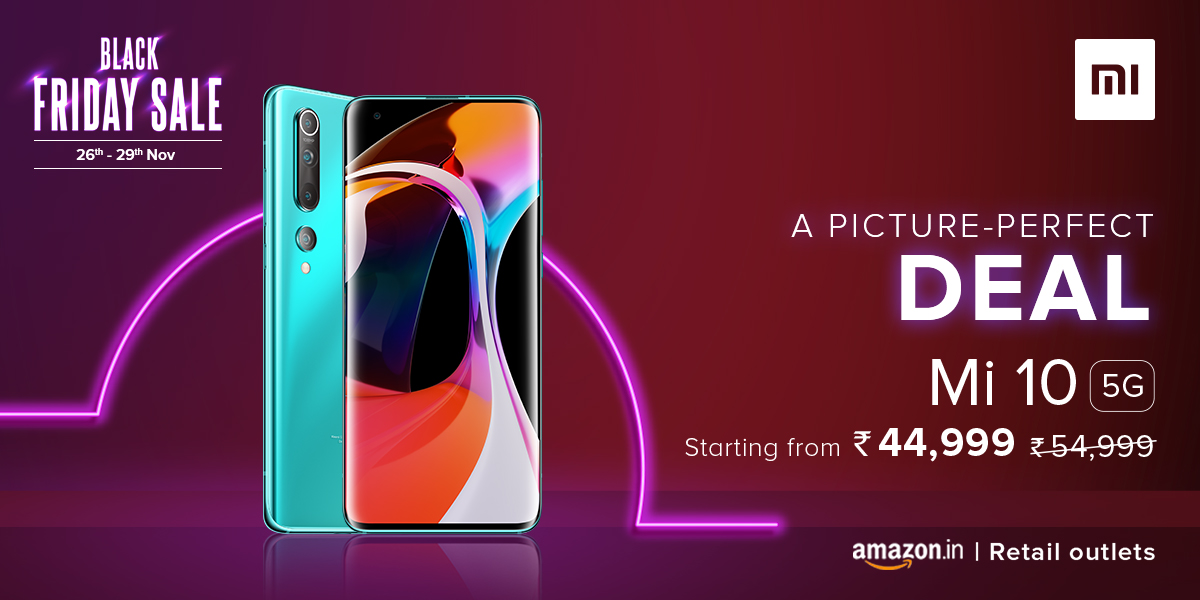 Evoke your imagination with #Mi10.   Own a #Mi10 at an amazing price starting from ₹44,999 on #BlackFridaySale.   Head to @amazonIN, and all our Retail outlets now -