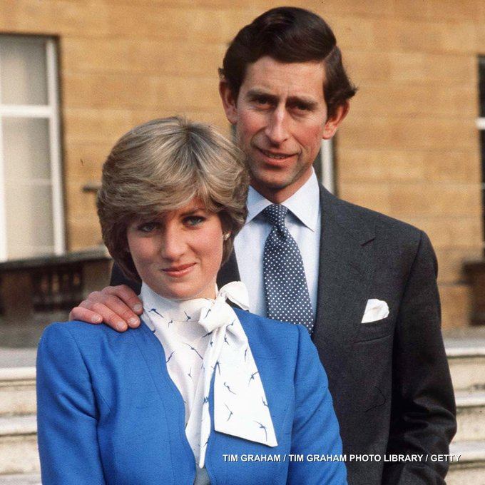 Lady Diana Spencer and Prince Charles pose for photographs following the announcement of their engagement on 24th February 1981.
