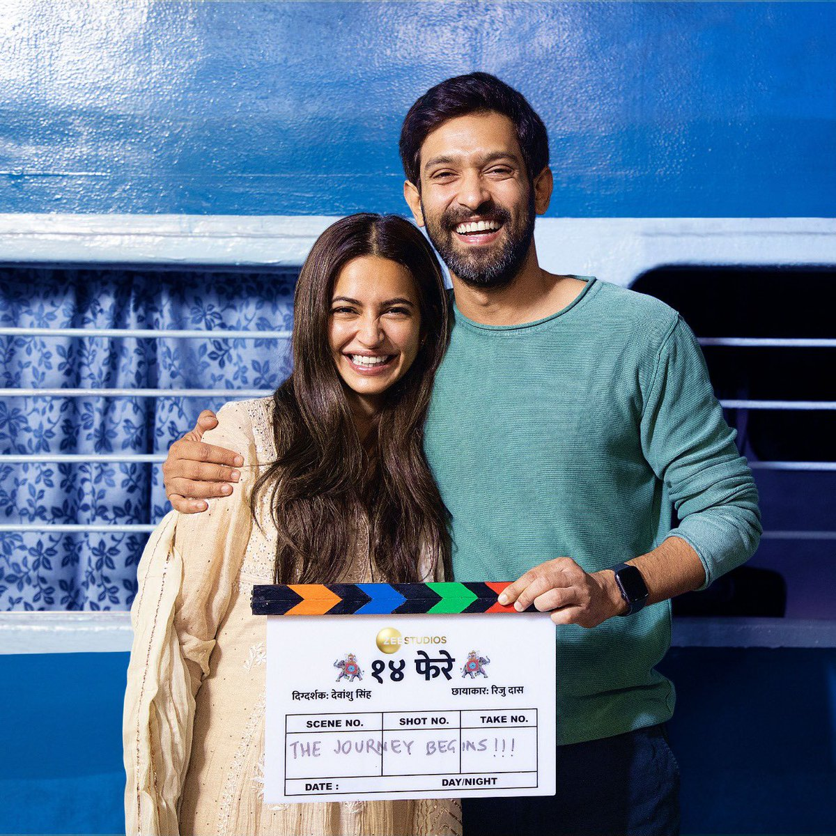 Embarking on a journey that promises 2x fun, dulha-dulhan are ready to take #14Phere! 🤩 ❤️ Starring Vikrant Massey, Kriti Kharbanda, and directed by Devanshu Singh. A Zee Studios production #ShootBegins today! 🎥 #BackInAction  🎬