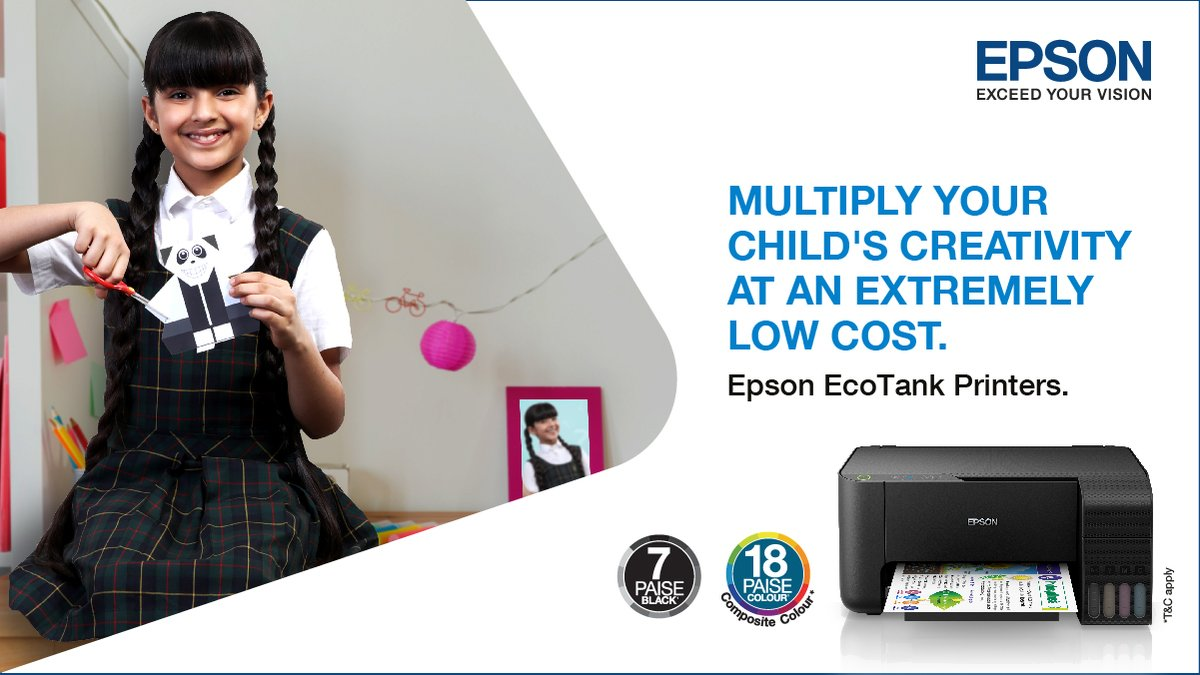 Now give your child's creativity free rein with prints starting at just 7 paise for black and 18 paise for color (composite). Epson EcoTank printers – The only way to print. Know more:   #TheOnlyWayToPrint #EcoTank #Printer