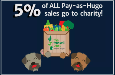We're doing our bit to help @TrussellTrust by donating 5% of all Pay-as-Hugo sales to fight for a #HungerFreeFuture. #Foodbanks