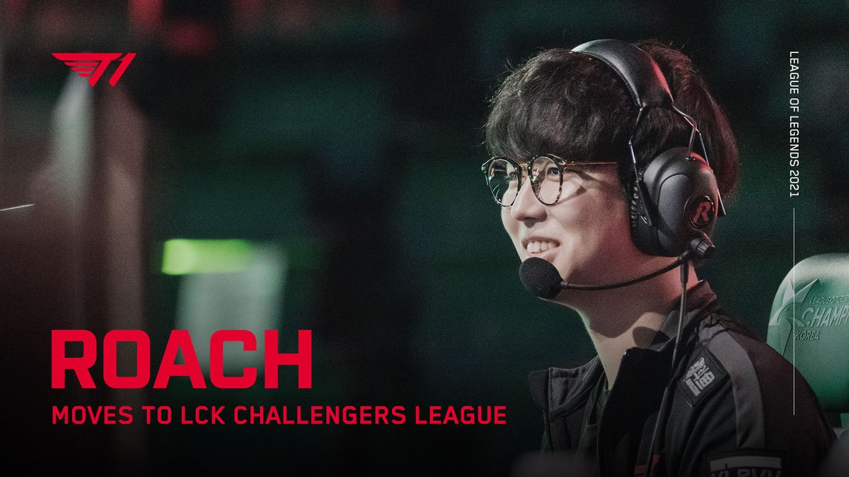 """lol_Khan - """"Roach"""" 김강희 선수가 2021년부터 T1 2군에 합류하게 되었습니다. 팬 여러분들의 따뜻한 응원 부탁드립니다.  @RoachLoL moves to T1's LCK Challengers League team from 2021. Please show your support for his new journey.  #T1WIN #T1Fighting"""