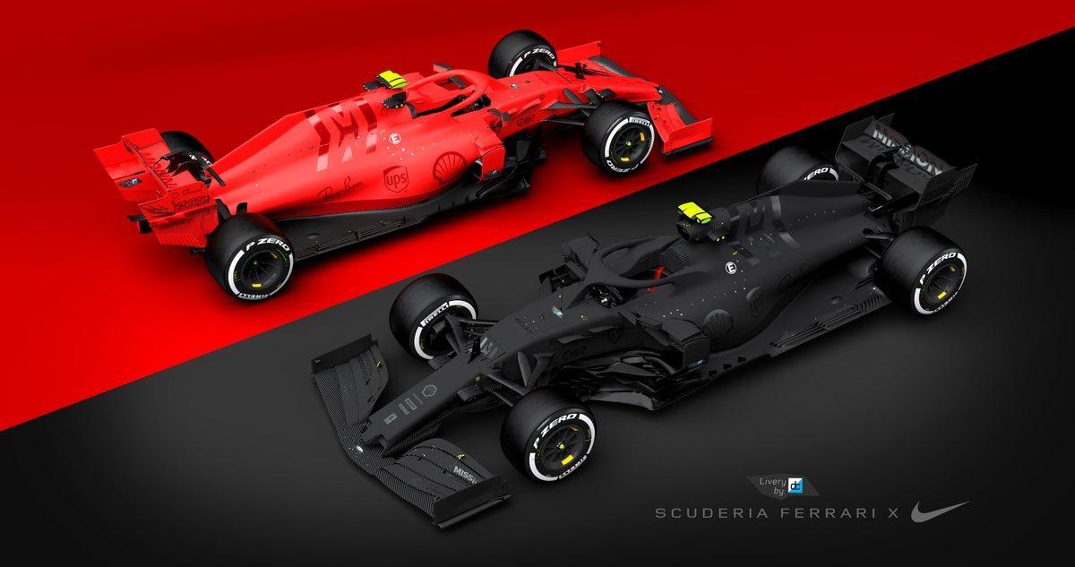 Ferrari x Nike' Concepts Pt.2  Using the ideas behind the Nike 'Blackout' Series & Nike 'Colour Rush' Football shirts & NBA jerseys, creating a partnership across the F1 grid  Model:  @RaceSimStudio  #Blackout #NFL #Colourrush #f1 #Bahraingp  #liverydesign https://t.co/5UJaARTBVN