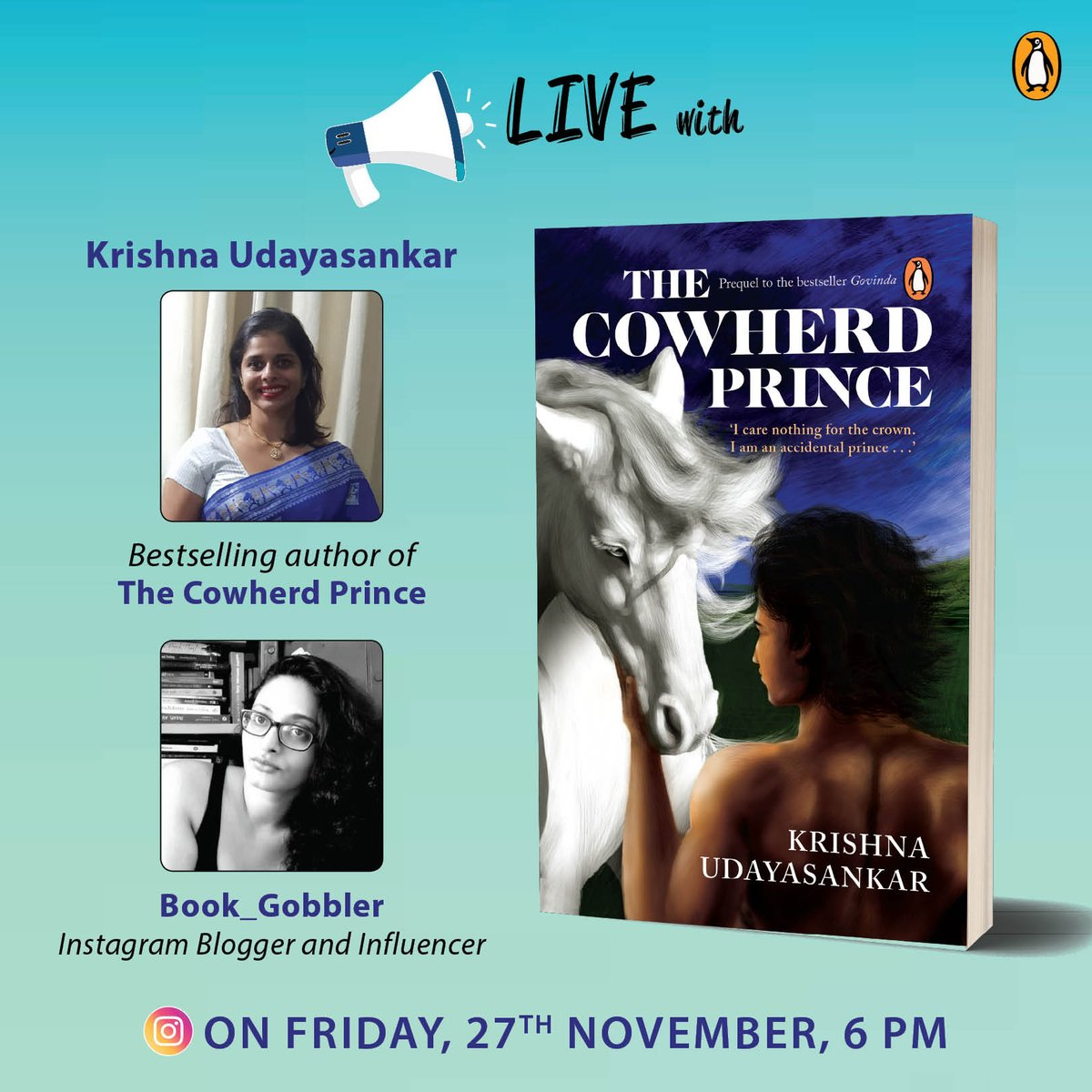 Join us for this fun Instagram LIVE session with @krisudayasankar this Friday!  #TheCowherdPrince