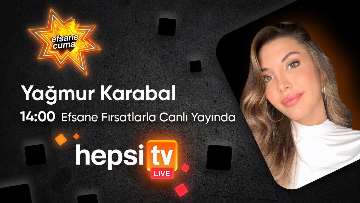 HepsiTV Live'da bugün Yağmur Karabal var! Efsane Cuma'ya özel efsane indirimli ürünleri canlı anlatımla izlemek için 14:00'te Hepsiburada'da olun, canlı yayına özel indirimleri kaçırmayın!