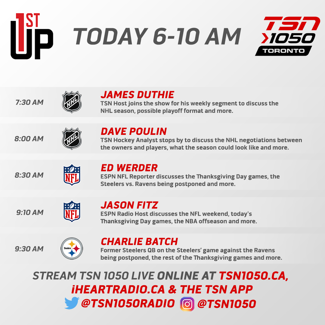 Today's show:  Team Canada WJ team to quarantine for 14 days Steelers vs Ravens moved to Sunday NFL Thanksgiving games Diego Maradona dead at 60  Listen: https://t.co/KqkOODY1pM Text: 105050 https://t.co/ObKiaq16GT